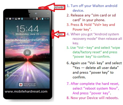 How to hard reset Walton primo x2