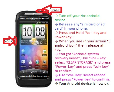How to hard reset HTC Wildfire