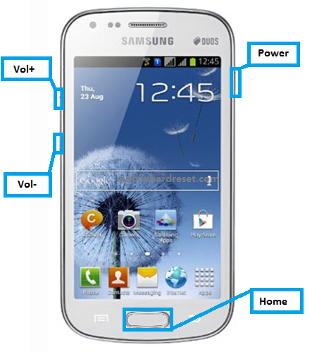 How to hard reset Samsung galaxy Duos GT-S7562