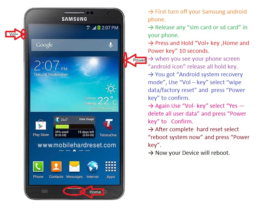 How to hard reset Samsung galaxy Note 3