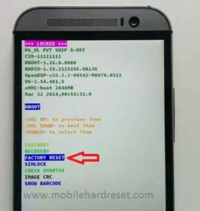 How to Factory Reset htc One M8